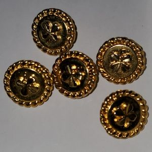 5 BEAUTIFUL AUTHENTIC CHANEL GOLDTONE BUTTONS